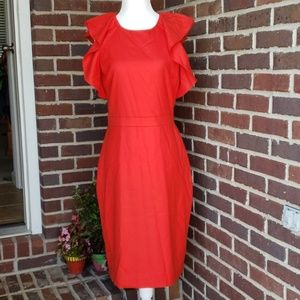 J. Crew Red Ruffle Sleeveless Sheath Dress